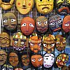 Brand new traditional masks in the vibrant tourist-trap streets of Insa-dong in Seoul, South Korea.