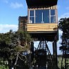 Tree house at Hapuku Lodge, Kaikoura, New Zealand. Luxury room with a view to the sea one way and the snow-dusted mountains the other. It doesn't get much better than this.