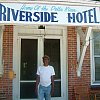 Rat outside his famous -- and famously run-down -- hotel in Clarksdale, Mississippi. This is where Bessie Smith died and John F Kennedy Jr slept and most famous blues musicians spent some time. See Postcards From Elswhere.