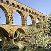 Roman aqueduct Pont du Gard near Uzes, southern France.
