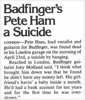PETE HAM OF BADFINGER: Take a sad song and make it sadder